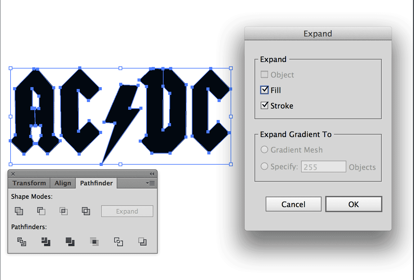 Screenshot of Adobe Illustrator Expand options for SVG optimisation
