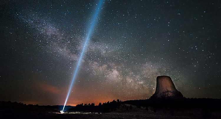 Photograph of a spotlight at Devil's Tower, Utah
