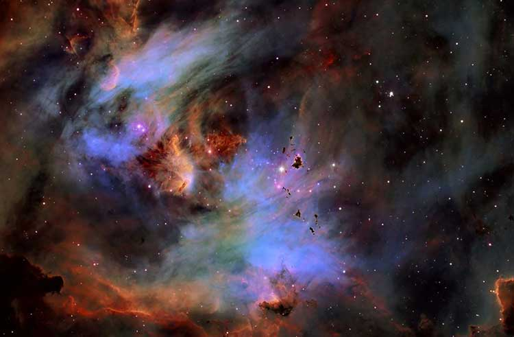 Astrophotograph of globules in the Running Chicken Nebula by Fred Vanderhaven