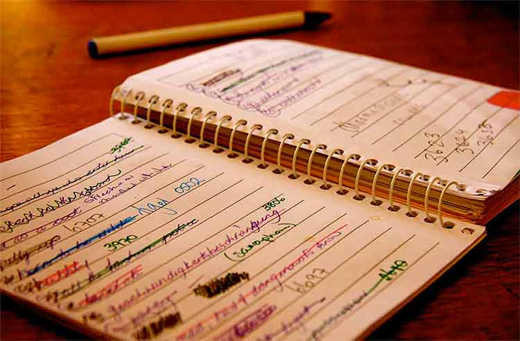Photograph of a notebook with written lists