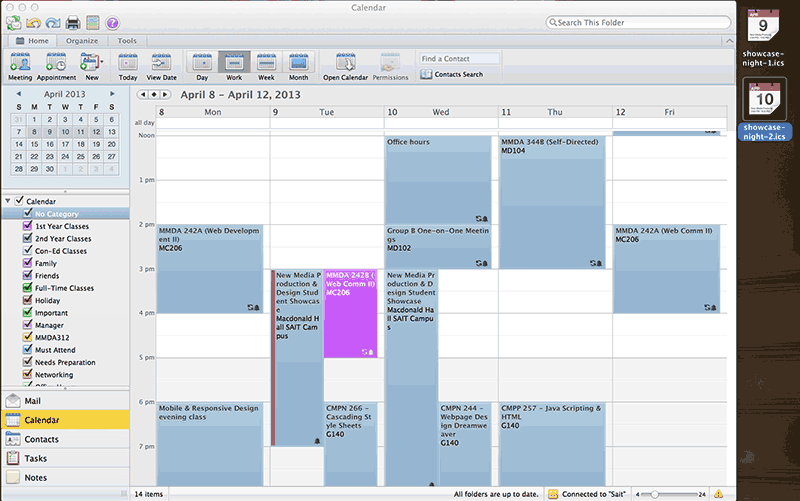 Screenshot of Outlook Calendar with exported .ics files